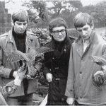 David Bradley, Richard Hines, Tony Garnett & Barry Hines with 2 of the kestrels from the film Kes from 1968