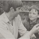 Richard Hines with David Bradley and the kestrel that played Kes in the film from 1968